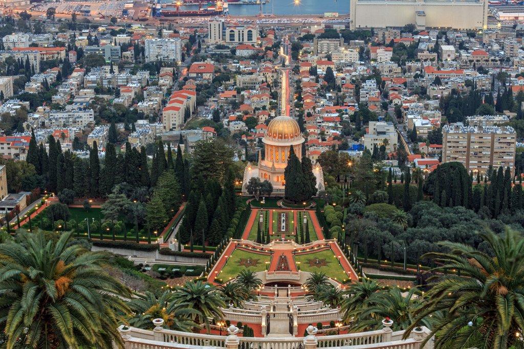evening-view-bahai-garden-haifa-israel